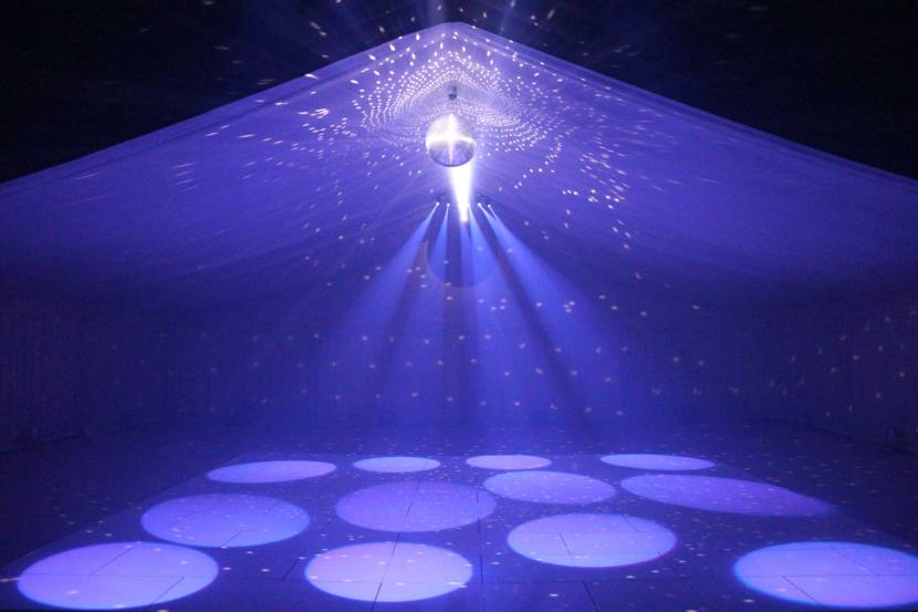 marquee-with-blue-pinspots-and-glitter-ball
