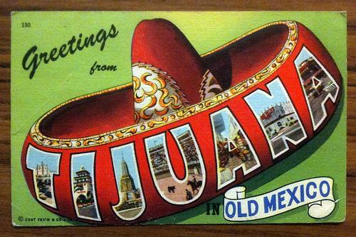 postcard, tijuana, large letter linen