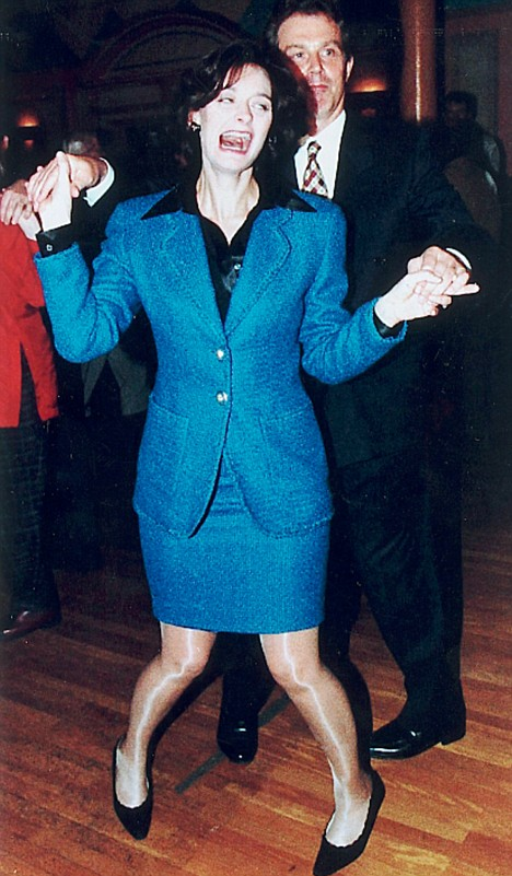 Tony and Cherie Blair dancing at the 1996 Labour conference.